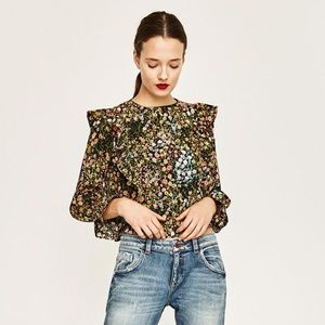 Zara Floral Top With Frills